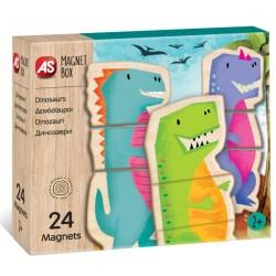 Cutie cu 24 piese magnetice universul dinozurilor As 64043