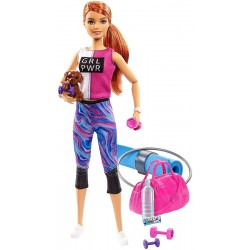 Papusa Barbie Wellness la sala de sport cu figurina si accesorii Mattel GKH73-GJG57