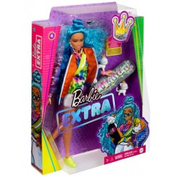 Papusa Barbie Extra cu par albastru si 2 pisicute Mattel GRN27-GRN30