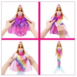 Papusa Barbie transformabila in sirena Dreamtopia 2in1 Mattel GTF91-GTF92