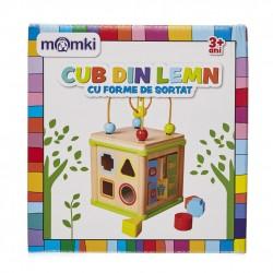 Cub din lemn cu forme de sortat Momki MKBI1572370