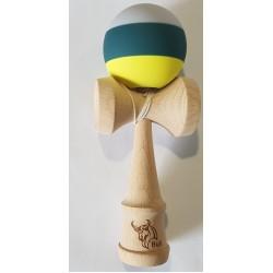 Kendama Bull rubber 3c gri-verde-galben